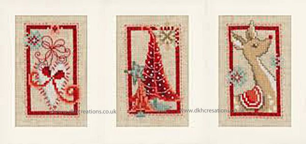 Modern Christmas Symbols Greetings Cards Cross Stitch Kit